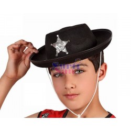 Sombrero sherif negro infantil