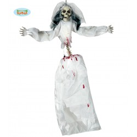 Colgante figura novia esqueleto luz sonido y movimiento
